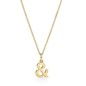 New Tiffany & Co 18k Gold Ampersand Necklace